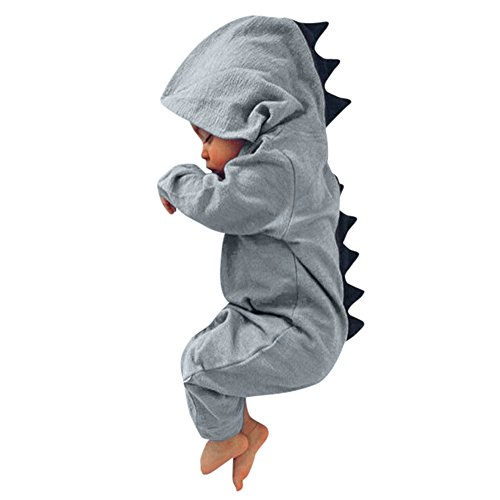HWTOP Baby Junge Mädchen Jumpsuit Dinosaurier Kapuze Strampler Romper Outfits Bekleidungsset, Grau, 12-18 Monate
