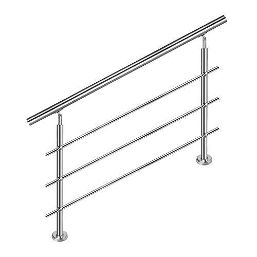 HENGMEI 80cm Escaleras Barandilla de acero inoxidable Pasamanos barandillas varillas Terraza barandilla montar Escaleras con 3 postes