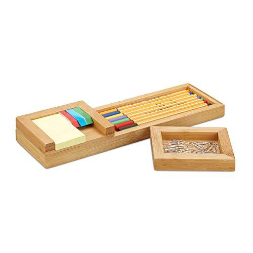 Relaxdays Stiftablage Bambus, 3-teiliger Schreibtisch Organizer, Stifteschale & Zettelhalter, HBT 3,8 x 31 x 9 cm, natur