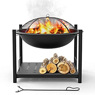 """Portable Outdoor Wood Fire Pit - 2-in-1 Steel BBQ Grill 26"""" Wood Burning Fire Pit Bowl w/ Mesh Spark Screen, Cover Log Grate, Wood Fire Poker for Camping, Picnic, Bonfire - SereneLife SLCARFP54"""
