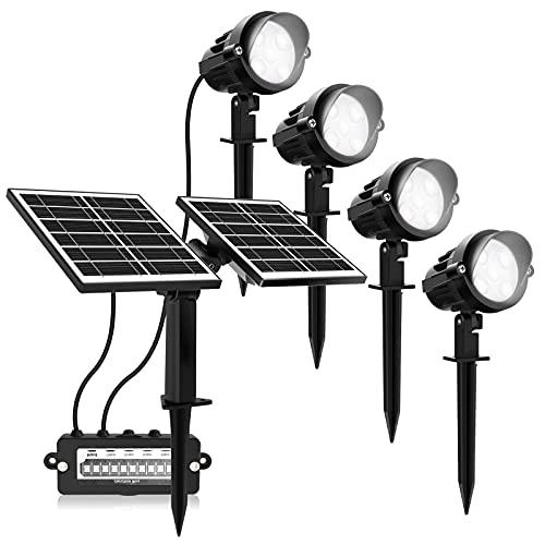 MEIKEE Faretti LED per Esterni 4 Pezzi con Pannelli solari - Luci solari da Giardino 7W Lampade da Giardino Impermeabili IP55 per grondaie, Patio, passaggi pedonali, Cortile, Garage, grondaie