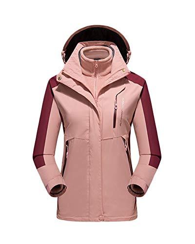 Veste Impermeable pour Homme/Femmes Coupe-Vent Extérieure Grande Taille Respirant Alpinisme Voyage À Capuche Veste Pink F 2XL