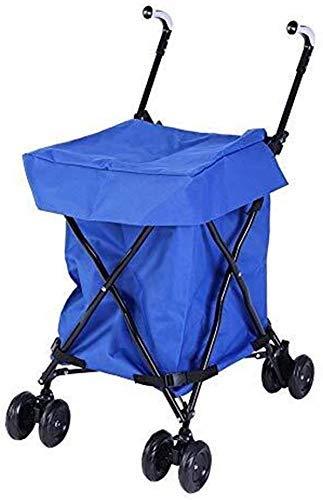 XUSHEN-HU Carro de la compra, carrito de la compra, carrito de la compra, multifuncional, plegable, portátil, con bolsa Oxford azul, carga máxima de 25 kg de cocina