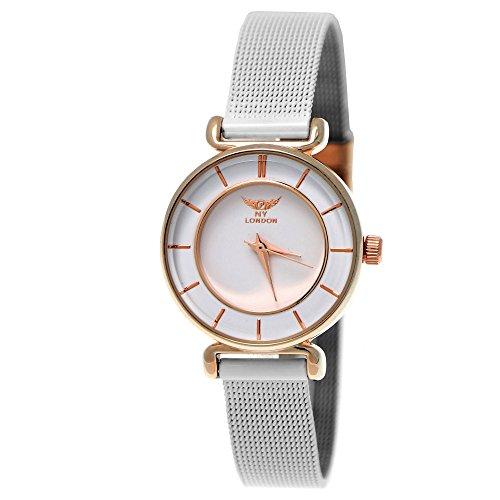 Elegante NY London Designer Damenuhr Damen Armband Uhr Weiß Rose Gold inkl. Uhrenbox