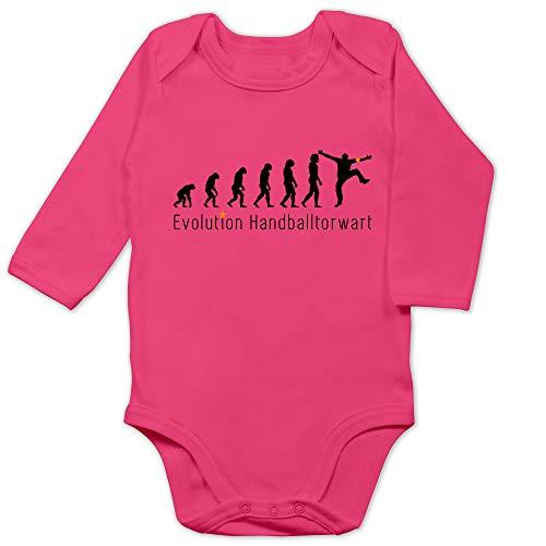 Shirtracer Evolution Baby - Handballtorwart Evolution - 12/18 Monate - Fuchsia - Handballspieler - BZ30 - Baby Body Langarm