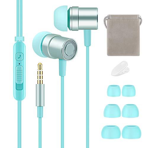 Auricolari Tachio In-Ear Cuffie, suono stereo puro, bassi potenti, auricolari cablati leggeri e carini con microfono e controllo del volume per iPhone, iPad, iPod, smartphone Samsung (blu)