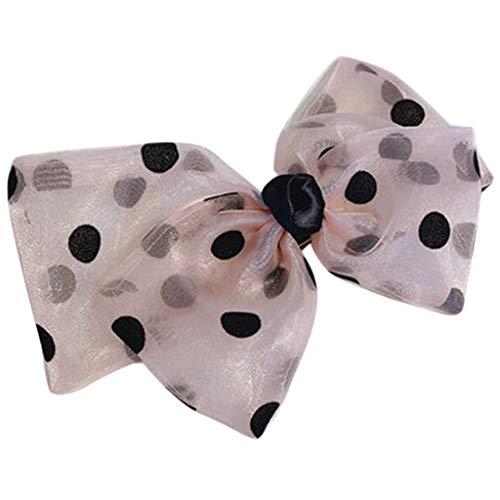 niumanery Women Vintage French Barrette Polka Dot Organza Bow Ponytail Spring Hair Clip Light Pink