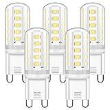 Bombillas LED G9 5W, Blanco Frío 6000K, Repuesto Lámparas Halógenas 40W 50W, LED G9 ángulo Haz de 360° Sin Parpadeo, No Regulable CA 220-240V, Paquete de 5, Eco.Luma