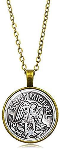 Ahuyongqing Co.,ltd Collar Hombre Collar Arcángel San Miguel Protégeme Escudo Santo Protector Mágico Ruso Colgante Collar Collar