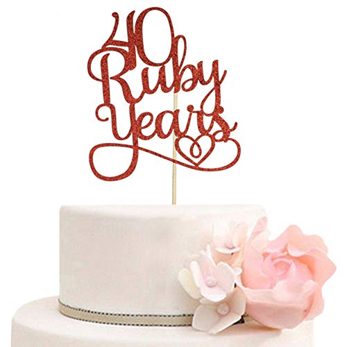 40 Ruby Years Cake Topper for 40th Anniversary Wedding Party Decorations Red Glitter