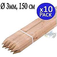 POSTE TUTOR DE MADERA 150 cm, diámetro 3 cm. Util para para construcción de vallas, cercados, cuadras, pérgolas, etc, como en agricultura para soporte de árboles. Pack 10