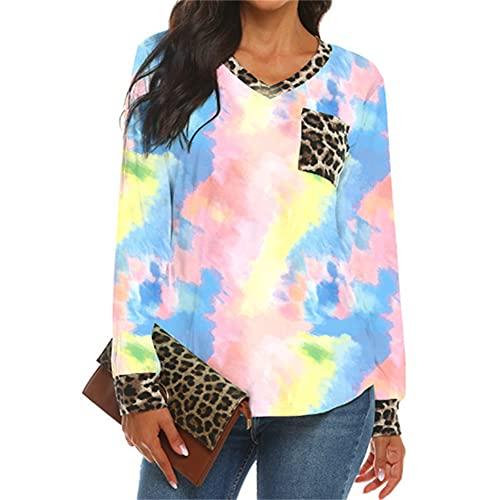 Mayntop Camiseta de verano para mujer con estampado de leopardo, manga corta, manga larga, cuello en V, suelta, blusa, B-rosa, 42