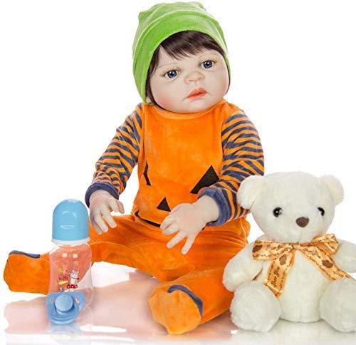 yunyu Juguetes 23 Pulgadas 57 Cm Reborn Baby Doll, Mueca Real de Silicona de Vinilo Suave Completo Puede Baar Muecas Recin Nacidas Anatmicamente Disfraz de Calabaz