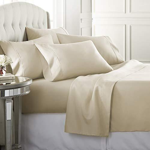 6 Piece Hotel Luxury Soft 1800 Series Premium Bed Sheets Set, Deep Pockets, Hypoallergenic, Wrinkle & Fade Resistant Bedding Set(Queen, Cream)