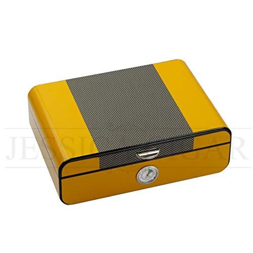 POMU Glossy Piano Sigarenetui Vochtiger Spaans Cederhout Sigarenvochtige opbergdoos met Hygrometer Luchtbevochtiger