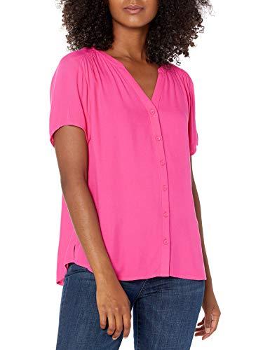 Amazon Essentials Camicetta in Tessuto a Maniche Corte Dress-Shirts, Rosa Brillante, M