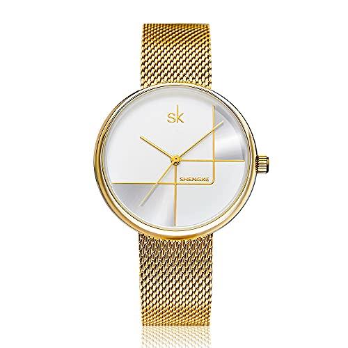 YIBOKANG Reloj De Cuarzo Resistente Al Agua De 30 M con Cinturón De Malla De Acero Simple De Lujo Ligero A La Moda para Mujer, Reloj De Moda con Personalidad Informal Creativa Y Regalo