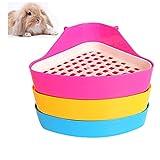 DesignerBox - Bandeja higiénica esquinera para mascotas, diseño de triángulo pequeño. Para hámsters, chinchillas, cobayas, conejos y hurones (color aleatorio).