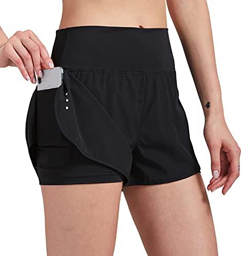 VIGVAN 2 in 1 Laufhose Damen Sport Shorts Sommer Kurze Hose Schnell Trocknend Fitness Shorts Yoga Shorts Gym Jogging Training Sporthose für Damen mit Taschen (Schwarz, S, s)