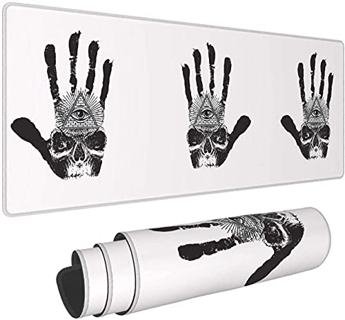 Skull in The Palm of Your Hand with Demon Eyes Large Gaming Mouse Pad with Nonslip Bas Comfy Foldable Mat for Desktop Laptop Keyboard Consoles More -31.5X11.8 Inch