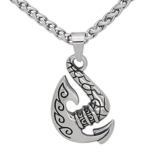 FLQWLL Wikinger Edelstahl Silber Odins Axt Amulett Anhänger 60Cm Kette Halskette,Nordische Mythologie Skandinavischer Vintage Schmuck
