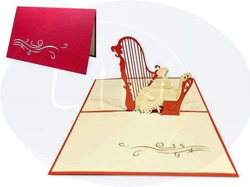 Lin Pop Up Cartes de vœux, cartes d'anniversaire, de la musique de concert Voucher Card, piano red