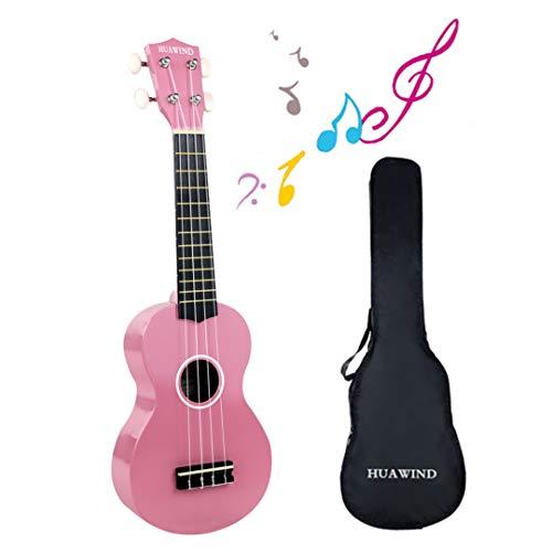 Sopran-Ukulele 53,3 cm Ukulele für Anfänger Kinder Gitarre Vier Saiten Holz Kinder Hawaii-Ukulele mit Gigbag (Pink)
