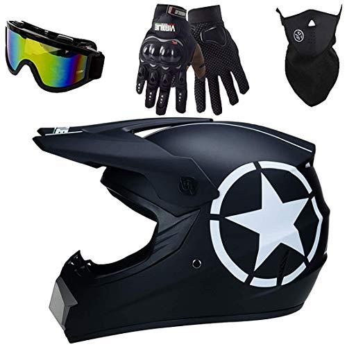 4 Piece Kids Motocross Helmet Set, Black Star Full Face Off Road Electric Dirt Bike MTB Crash Helmet, Adult Motorcycle Motorbike Helmet Protective Gear, DOT