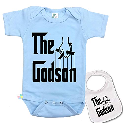 The Godson Cute Baby Bodysuit Onesie by Igloo & Matching bib Blue