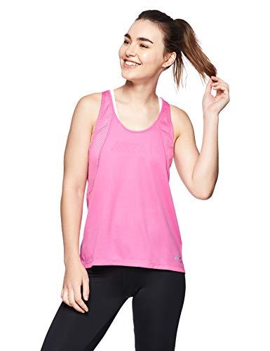 NIKE W Nk Run Tank Camiseta, Mujer, Multicolore (Active Fuchsia/Reflective silv), XL