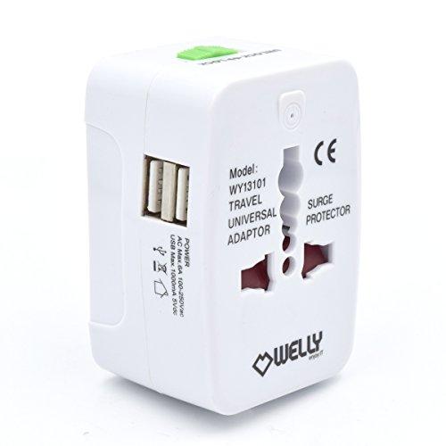 Welly Enjoy WY13101 Universal Welt Reiseadapter mit 2 Dual USB Port Netzadapterstecker Reisestecker mit EU/UK/US/AU Steckdosenadapter Weiß