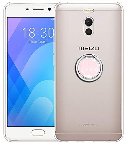Sunrive Funda para Meizu M6 Note 5,5 Pulgadas, Silicona Slim Fit Gel Transparente Carcasa Case Bumper Anti-Arañazos Espalda Anillo Kickstand 360 Grados Giratorio Cover(Rosado)