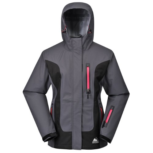 Cox Swain Damen 3-Lagen Hardshell Outdoor Jacke Lisa 8.000mm Wassersäule 5.000mm atmungsaktiv, Colour: Grey/Black, Size: L