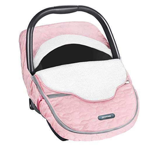 Yoofoss Baby Car Seat Cover Winter, Carseat Canopies Cover to Protect Baby from Cold&Winter, Super Plush Warm Baby Carrier Cover for Infant Boys Girls Bunting Bags(Pink)