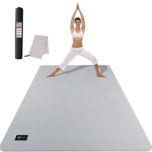 CAMBIVO Large Yoga Mat (6' x 4' x 6mm), Extra Wide TPE Mat for Men and Women, Exercise...