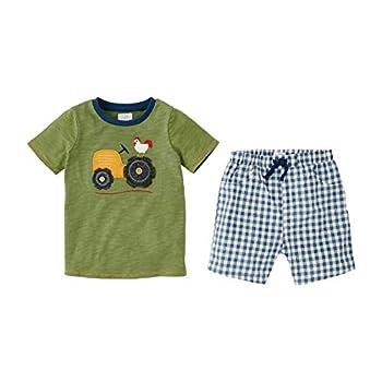 Mud Pie Baby BOY Farmhouse Short Set Green 12-18 Months