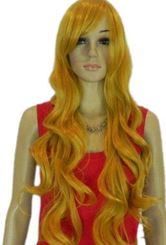 Qiyun Longue Blond Jaune Boucle Ondule Synthetique Cheveux Complete Costume Perruque