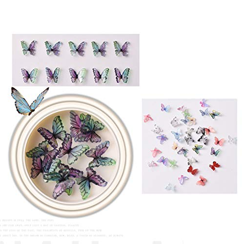 3D Butterfly Nail Art Rhinestones Decoration Nail Drill Manicure Jewelry DIY Bright Crystal Sand Shell Metal Jewelry Bead Nail Art Accessories Jewels Decoration (Multicolour)