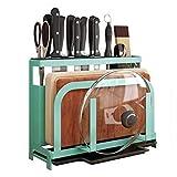 XJJZS Tablas for Cortar Cuchillo Organizador con Ganchos de Acero Inoxidable Utensilios de Cocina en Rack de Cortar Placas de Cuchillos