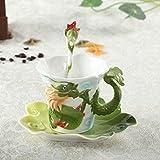 U/K Taza de café del dragón Taza de Taza de Porcelana de Porcelana del Esmalte de Porcelana con cucharas y platillos Chinos 300ml (Color : Green)