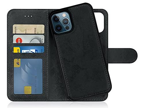 MyGadget Funda Cartera 2 en 1 para Apple iPhone 12 Pro MAX - Flip Case con Tapa Magnética - Cover Libro con Soporte - Carcasa Separable con Cierre - Negro
