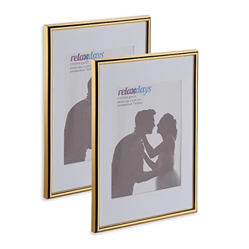 Relaxdays Bilderrahmen 2er Set, Din A4, Passepartout 15x20 cm, Glasscheibe, Fotorahmen zum Stellen oder Hinhängen, Gold