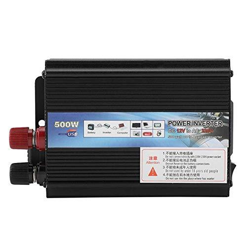 Inversor de energía Solar para automóvil 500W DC 12V a 220V / 110V Convertidor de inversor solar con tomacorrientes y puerto USB para Automóviles(12v/220v/500W))