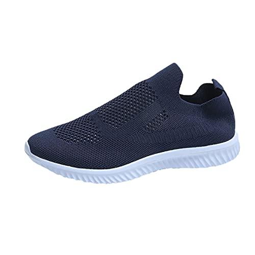 Zapatillas de Senderismo para Mujer Tejidas Ligeras y elásticas Transpirables para Caminar a la Moda, cómodas Zapatillas Deportivas Mary Jane (M06_Blue,39)