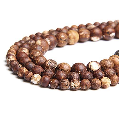KUQIQI Águaces de Piedra Natural Perlas 6 mm 8 mm 10 mm ágatas tibetanas Sueltas Espaciador de Perlas para la joyería Que Hace Bricolaje Collar de Pulsera al por Mayor (Color : 8mm 45 48pcs)