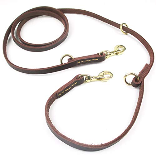 Ranoff Dog Collars Premium Leather Leash Dog Leash with Brass Buckle Waterproof Dark Brown Harnesses 2.3M (Brown)