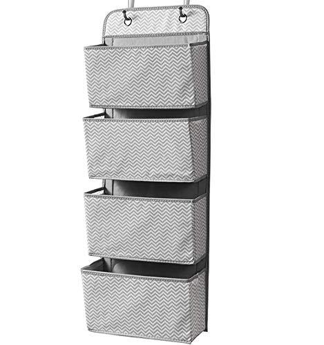 ManGotree Organizador para colgar en la puerta, 4 bolsillos, organizador de almacenamiento para juguetes, revistas, bolsos, llaves, anteojos de sol, sombrero (gris)