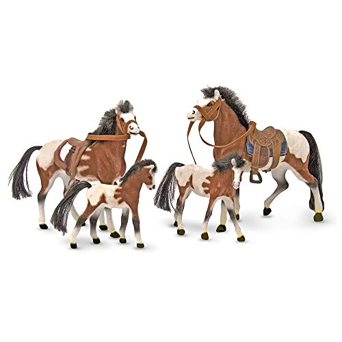 -Melissa&-Doug Collectible Horse Family Play Set (4 Toy Horses, Removable Saddles, Reins, Frustration-Free Packaging)