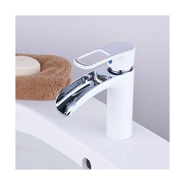 Leekayer Grifos de lavabo Lavabo Cascada Monomando,Grifos Baño de Latón,Blanco, un solo agujero latón,LK6683CW