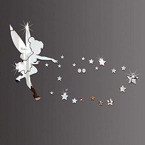 Juego de 26 pegatinas decorativas con efecto espejo de material acrílico para la pared con diseño de Campanilla, para decoración del hogar plateado plata